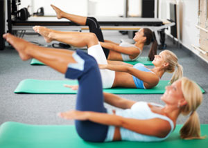 Ladies doing pilates class